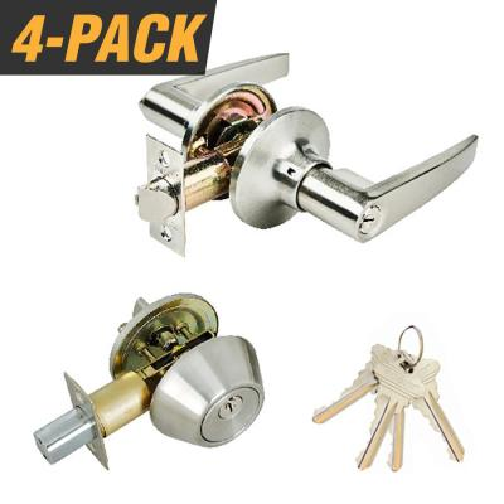 Stainless Steel Entry Door Lever Combo Lock Set with Deadbolt and 4 SC1 Keys, Keyed Alike (4-Pack)