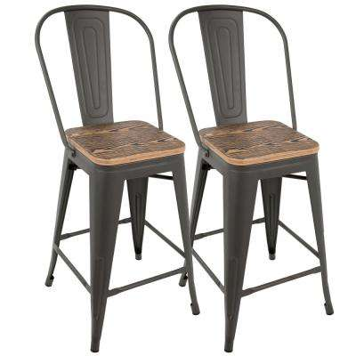 Oregon 39.5 in. Grey and Brown High Back Counter Stool (Set of 2)