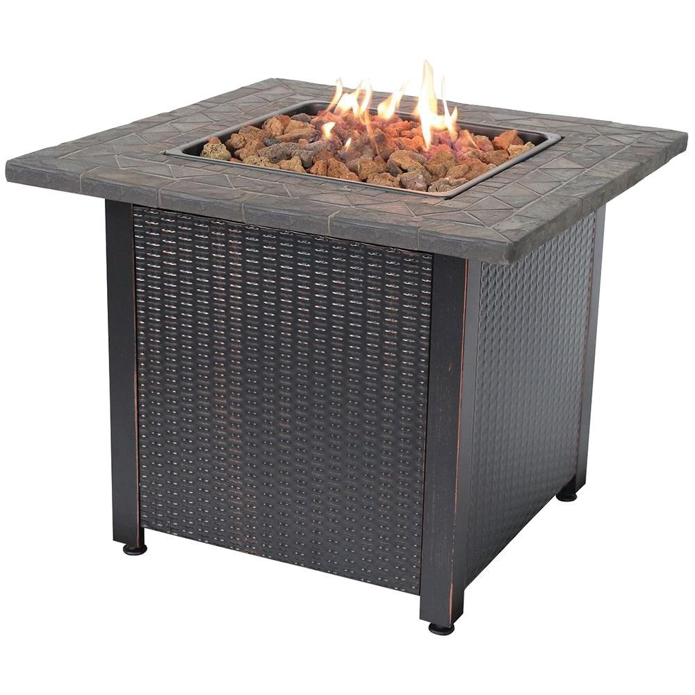 30 in. Steel LP Fire Pit with Faux Slate Mantel