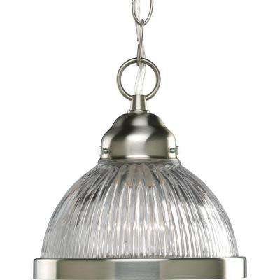 1-Light Brushed Nickel Mini Pendant with Clear Prismatic Glass