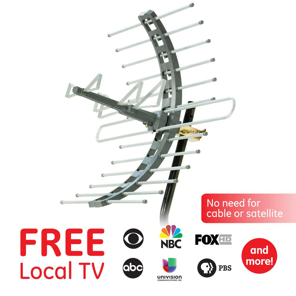 GE Pro Outdoor/Attic Mount TV Antenna, 70-Mile Range with Included Mounting Bracket, VHF/UHF