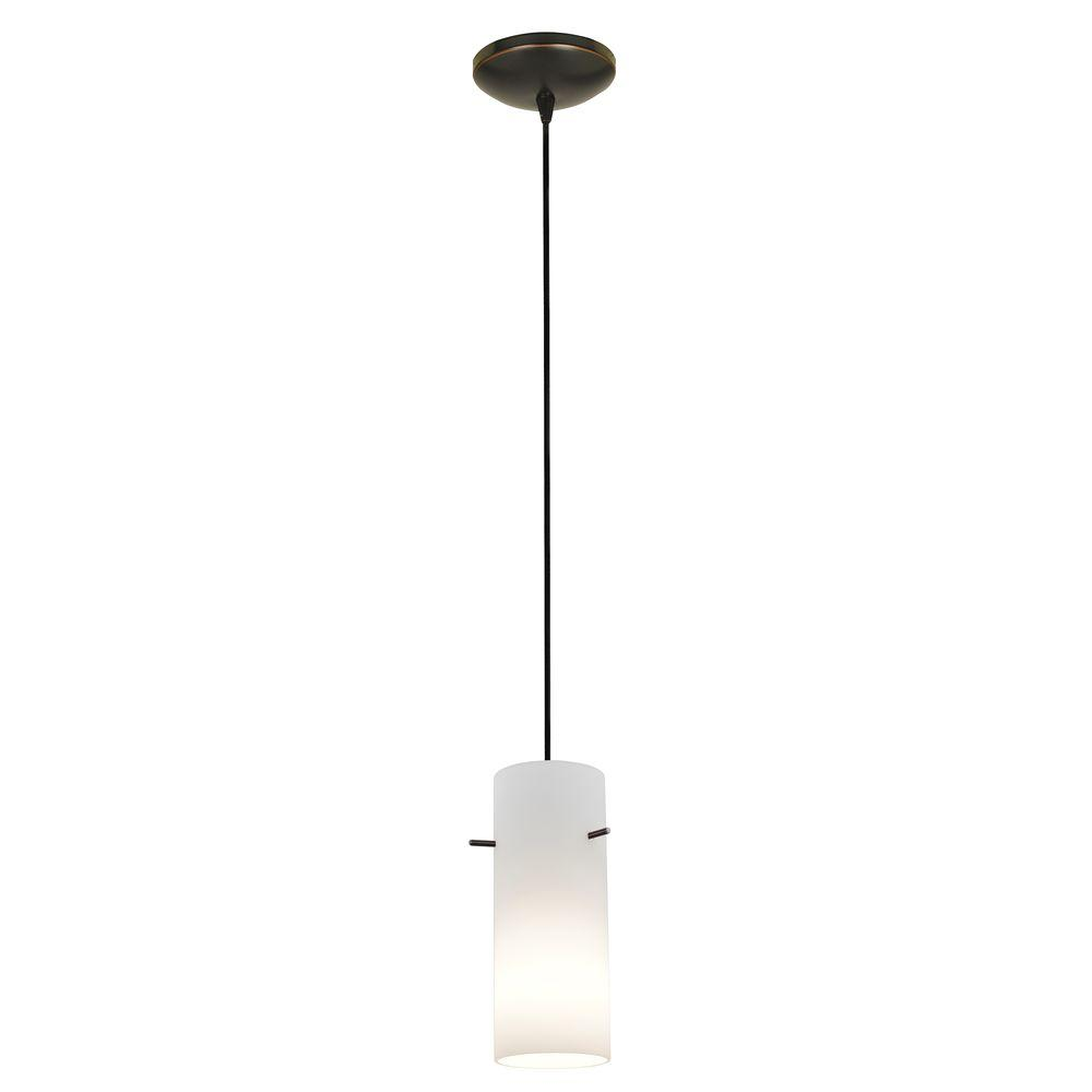 Access Lighting Cylinder 1-Light Oil-Rubbed Bronze Metal Pendant with Opal Glass Shade