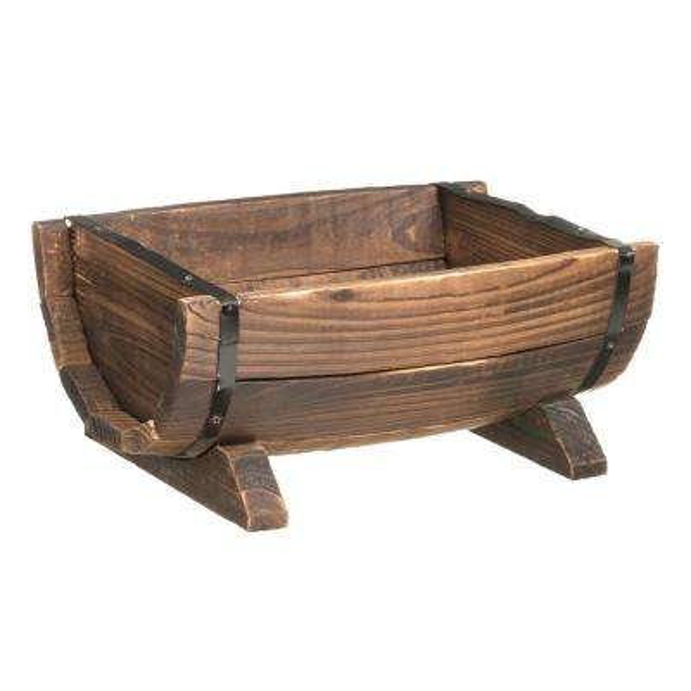 10.5 in. x 6.25 in. Brown Wooden Half Barrel Adjustable Deck Railing Planter