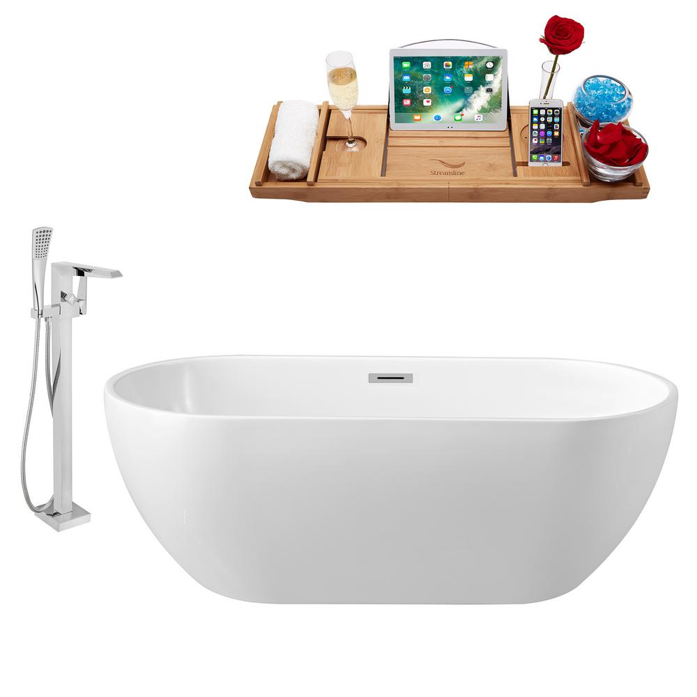 Streamline Tub, Faucet, and Tray Set 59.1 in. Acrylic Flatbottom Non-Whirpool Bathtub in Glossy White