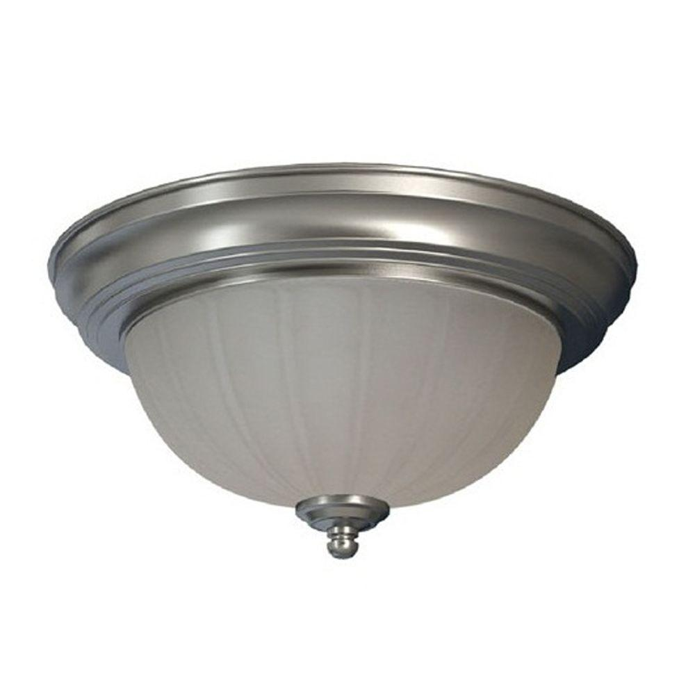 American Electric Lighting Products: Commercial Electric 1-Light Brushed Nickel Flushmount With