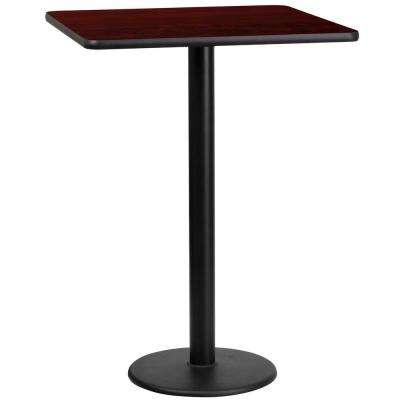 24 in. Square Black and Mahogany Laminate Table Top with 18 in. Round Bar Height Table Base