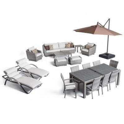 Cannes Estate Wicker 20-Piece Patio Conversation Set with Sunbrella Moroccan Cream Cushions