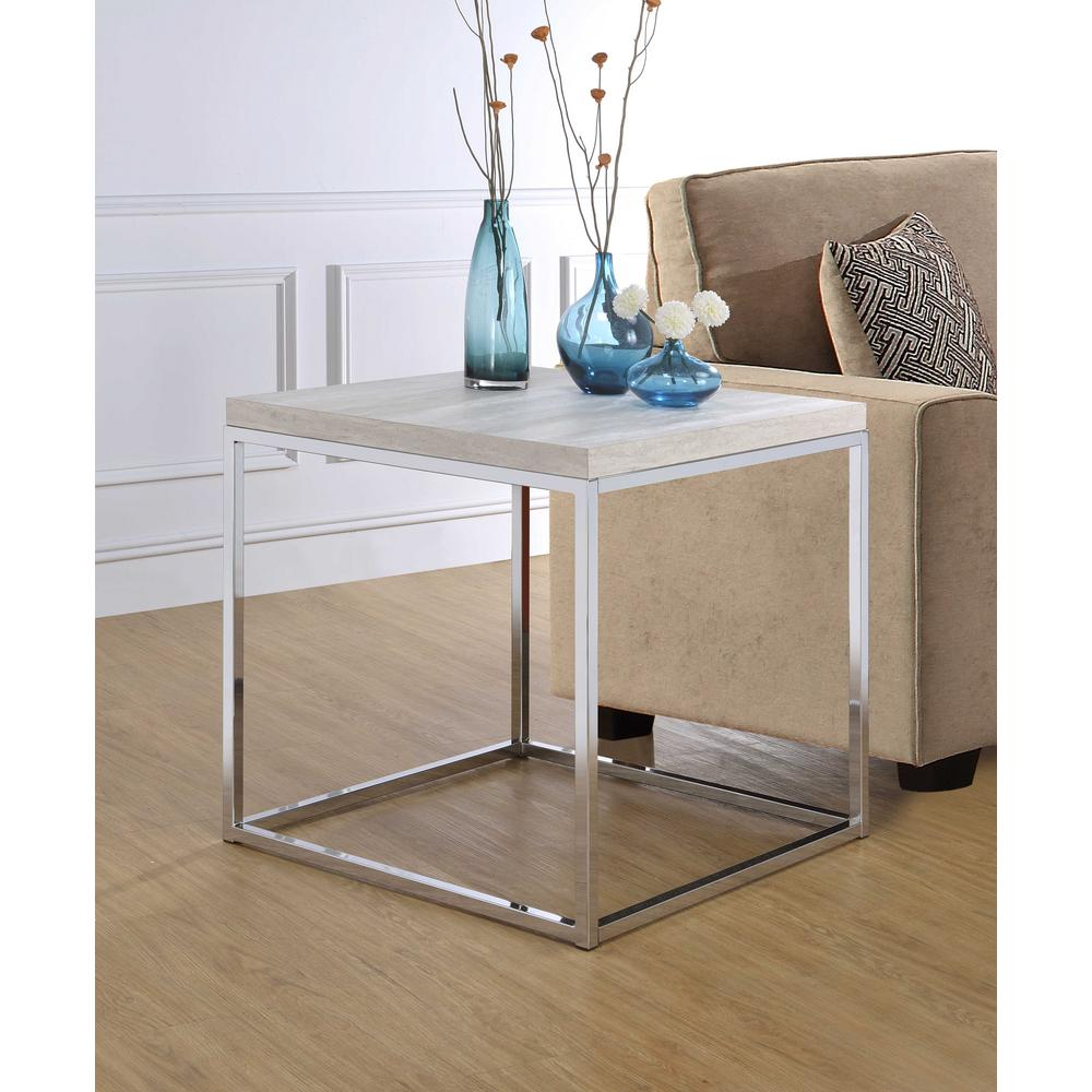 Acme Furniture Snyder Whitewashed And Chrome End Table 84627   The Home  Depot