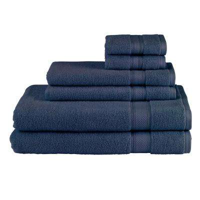 Solid 6-Piece Navy Towel Set