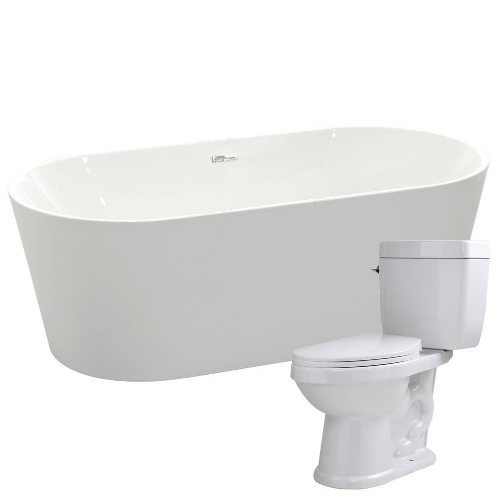ANZZI Chand 67 in. Acrylic Flatbottom Non-Whirlpool Bathtub with ...