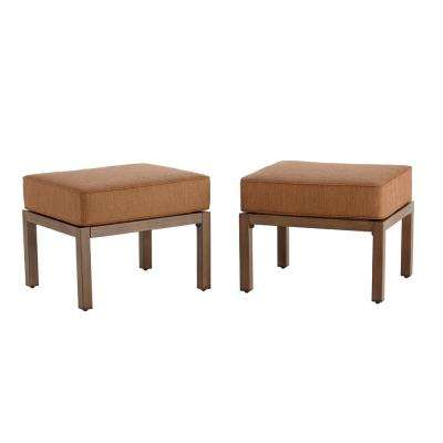 Kapolei Metal Outdoor Ottoman with Reddish Brown Cushion (2-Pack)