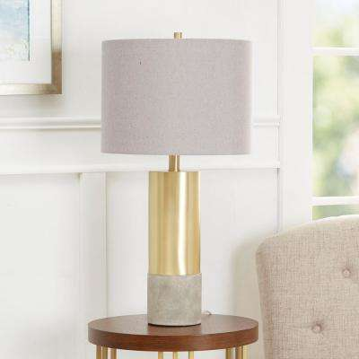 Nicole 24.75 in. Gold Table Lamp with Linen Shade