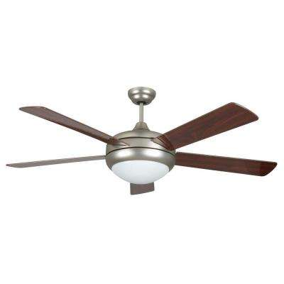 Neptune 52 in. Satin Nickel Ceiling Fan with Light Kit and 5 Blades