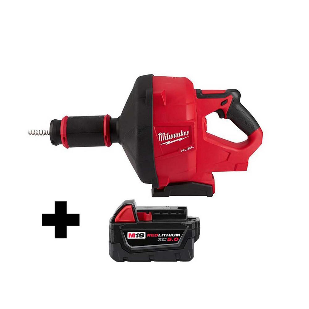Milwaukee M18 FUEL 18-Volt Lithium-Ion Cordless Drain Cleaning Snake Auger Tool with 5/16 in. Cable and Free M18 5.0Ah Battery was $504.0 now $399.0 (21.0% off)