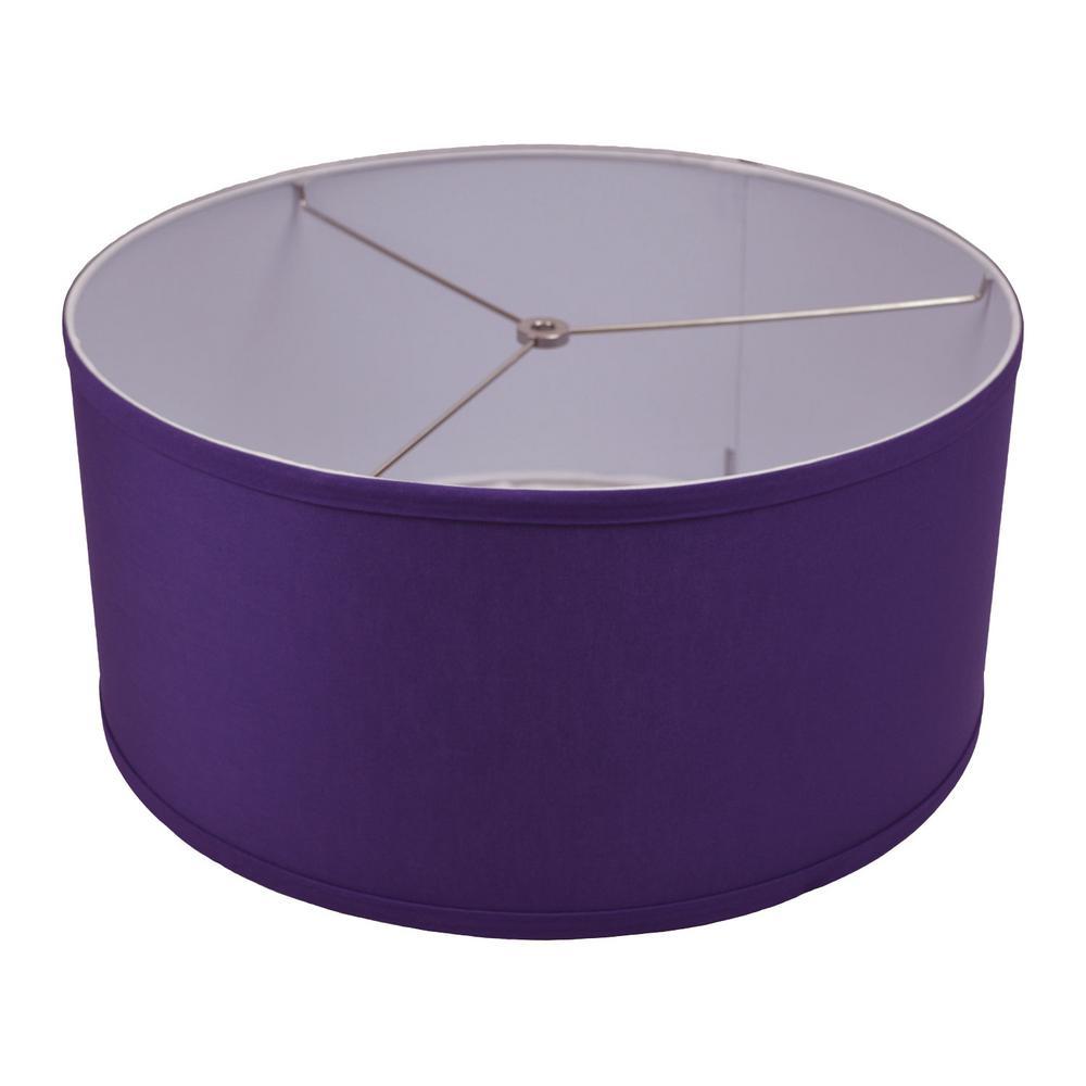 Fenchel Shades 17 in. Top Diameter x 17 in. Bottom Diameter x 8 in. Height, Drum Lamp Shade - Linen Purple