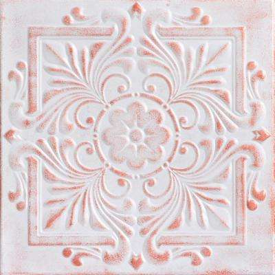 Victorian 1.6 ft. x 1.6 ft. Glue Up Foam Ceiling Tile in White Washed Copper