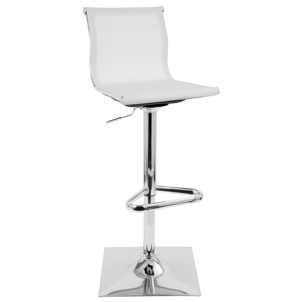 Lumisource Mirage White Adjustable Height Bar Stool Bs Tw