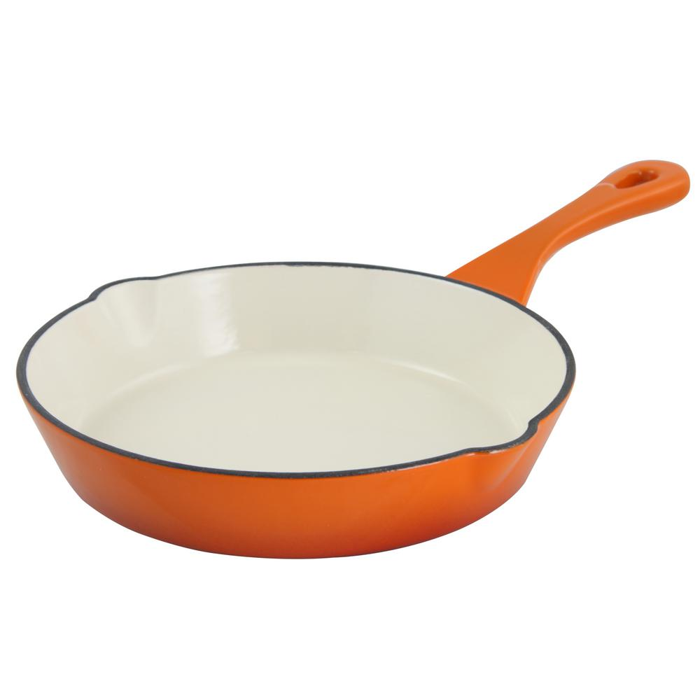 Artisan Enameled Cast Iron Skillet, Sunset Orange