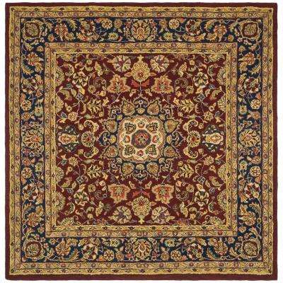 Classic Burgundy/Navy 8 ft. x 8 ft. Square Area Rug