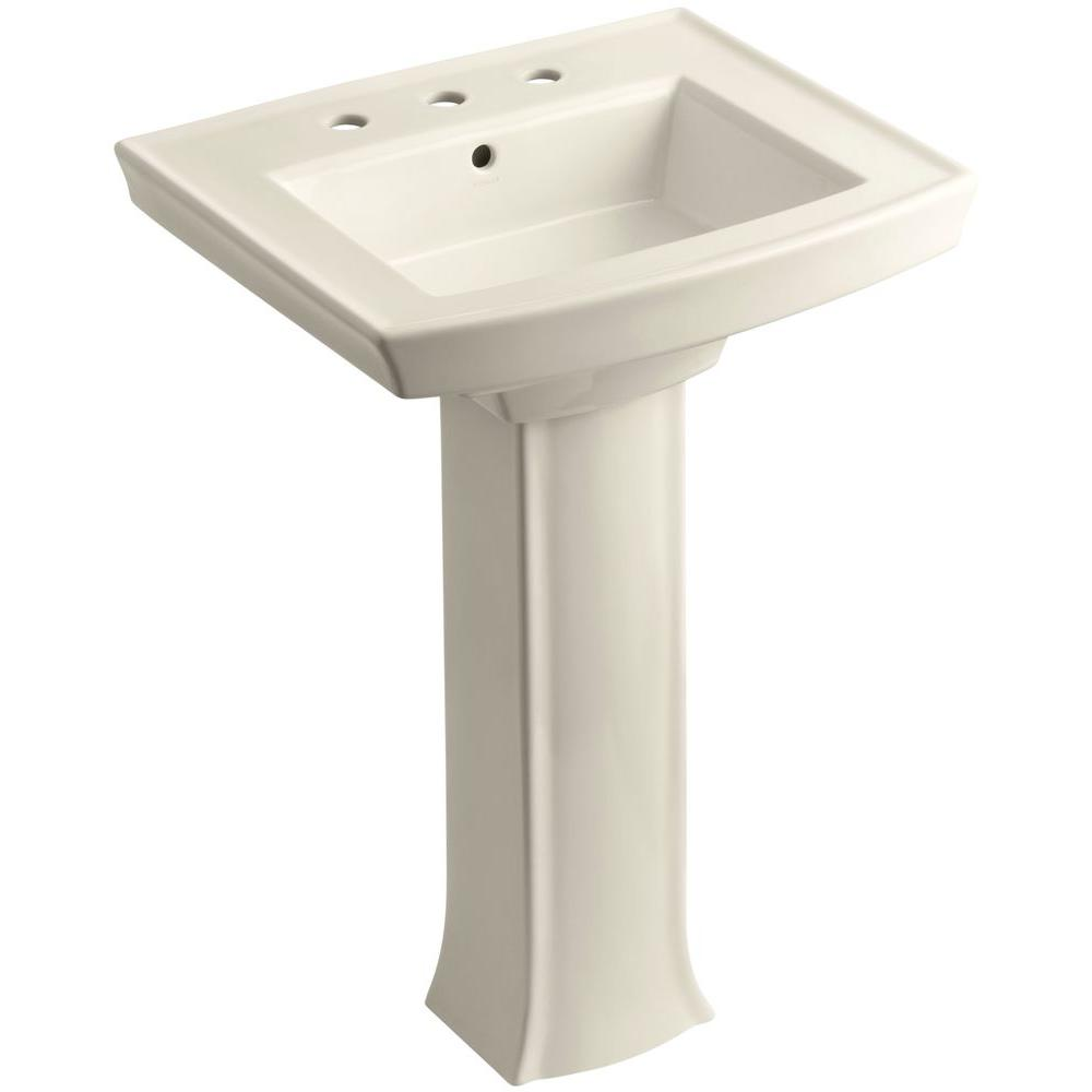 Archer Vitreous China Pedestal Combo Bathroom Sink in Almond with Overflow
