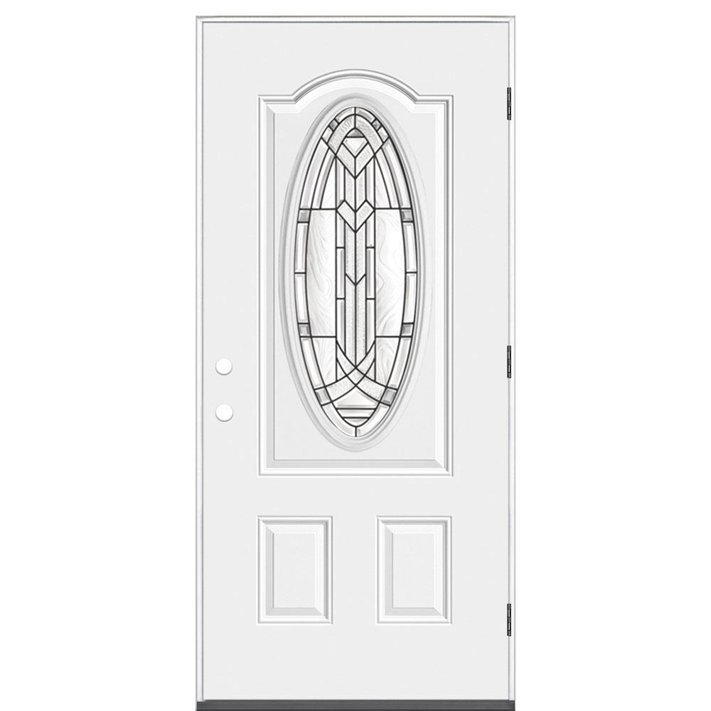 Masonite 36 in. x 80 in. Chatham 3/4 Oval-Lite Left Hand Outswing Primed Steel Prehung Front Exterior Door