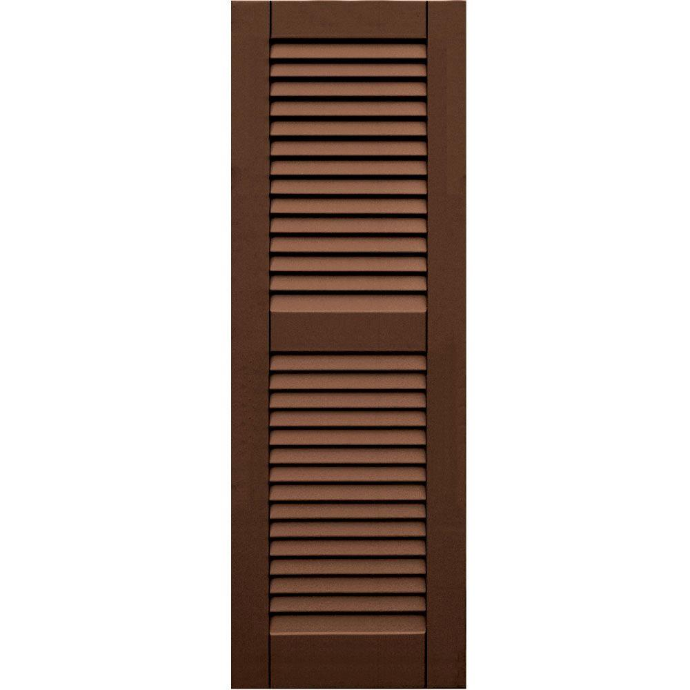 Winworks Wood Composite 15 in. x 44 in. Louvered Shutters Pair #635 Federal Brown