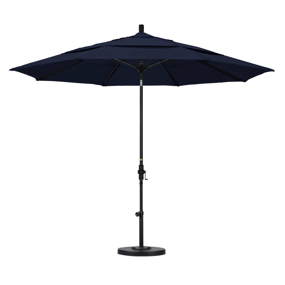 Superb 11 Ft. Fiberglass Collar Tilt Double Vented Patio Umbrella In Navy Blue  Olefin
