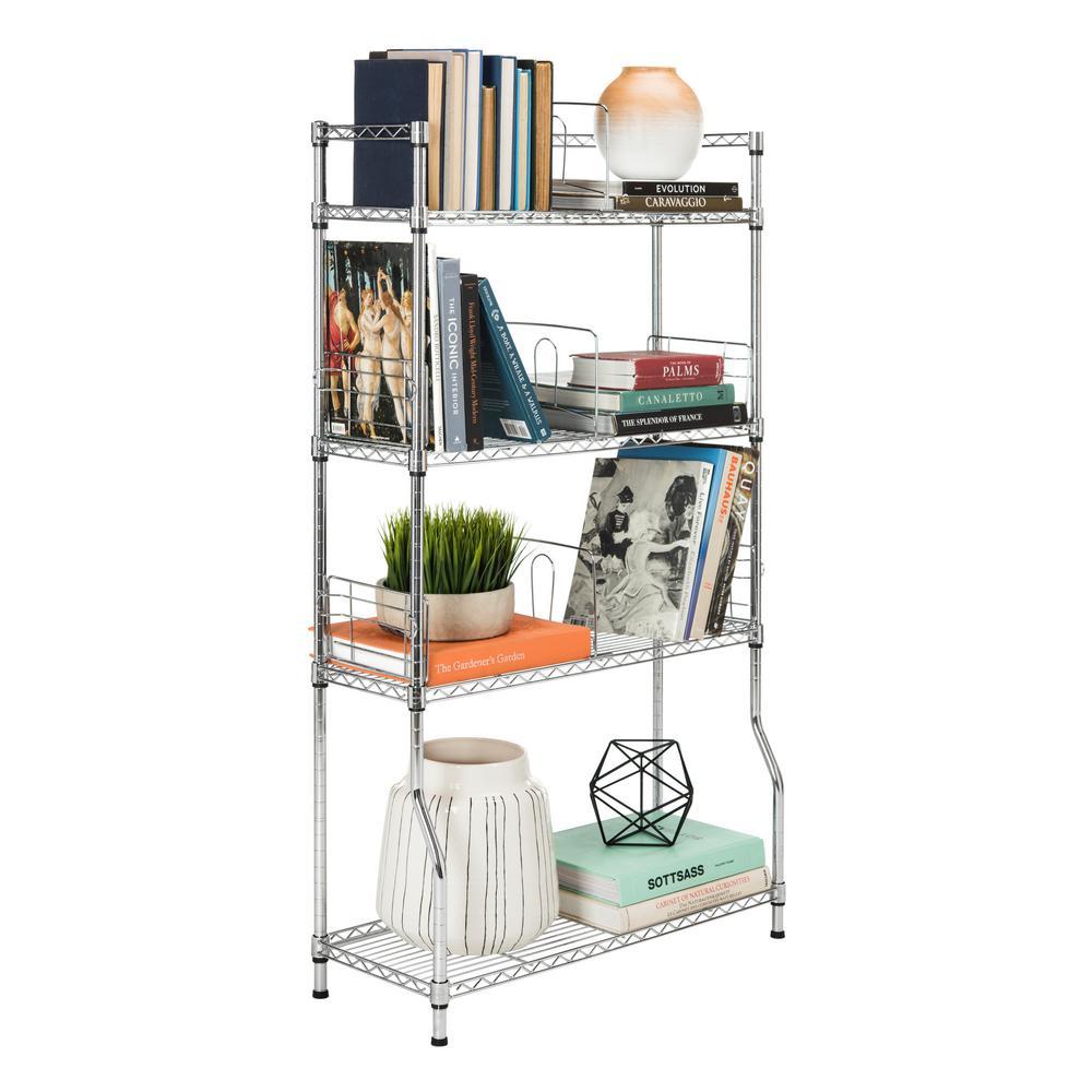 Wilson 53 in. 4-Tier Chrome Book Storage Shelf
