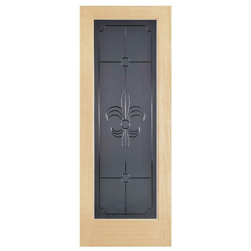 Steves & Sons Fleur-De-Lis Full Lite Solid Core Pine Obscure Glass Interior Door Slab