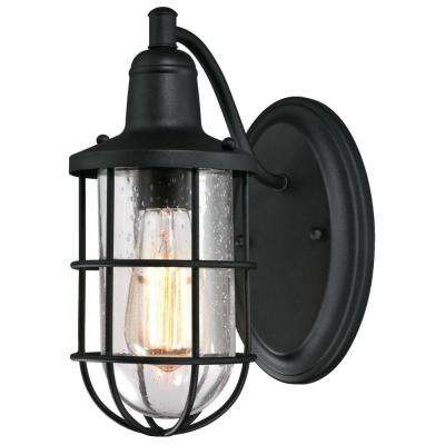 Crestview 1-Light Textured Black Outdoor Wall Mount Lantern