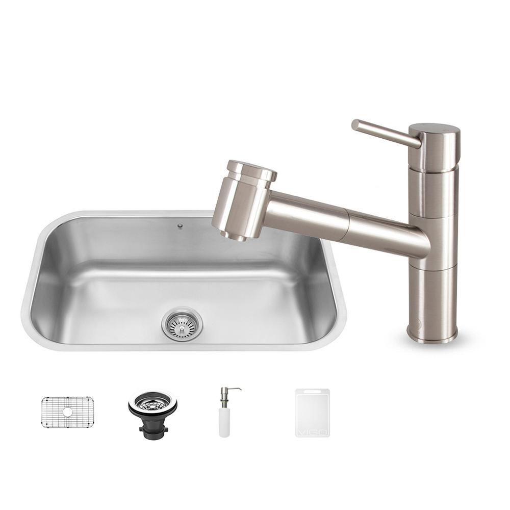 VIGO All In One Undermount Stainless Steel 30 In. Single Bowl Kitchen Sink
