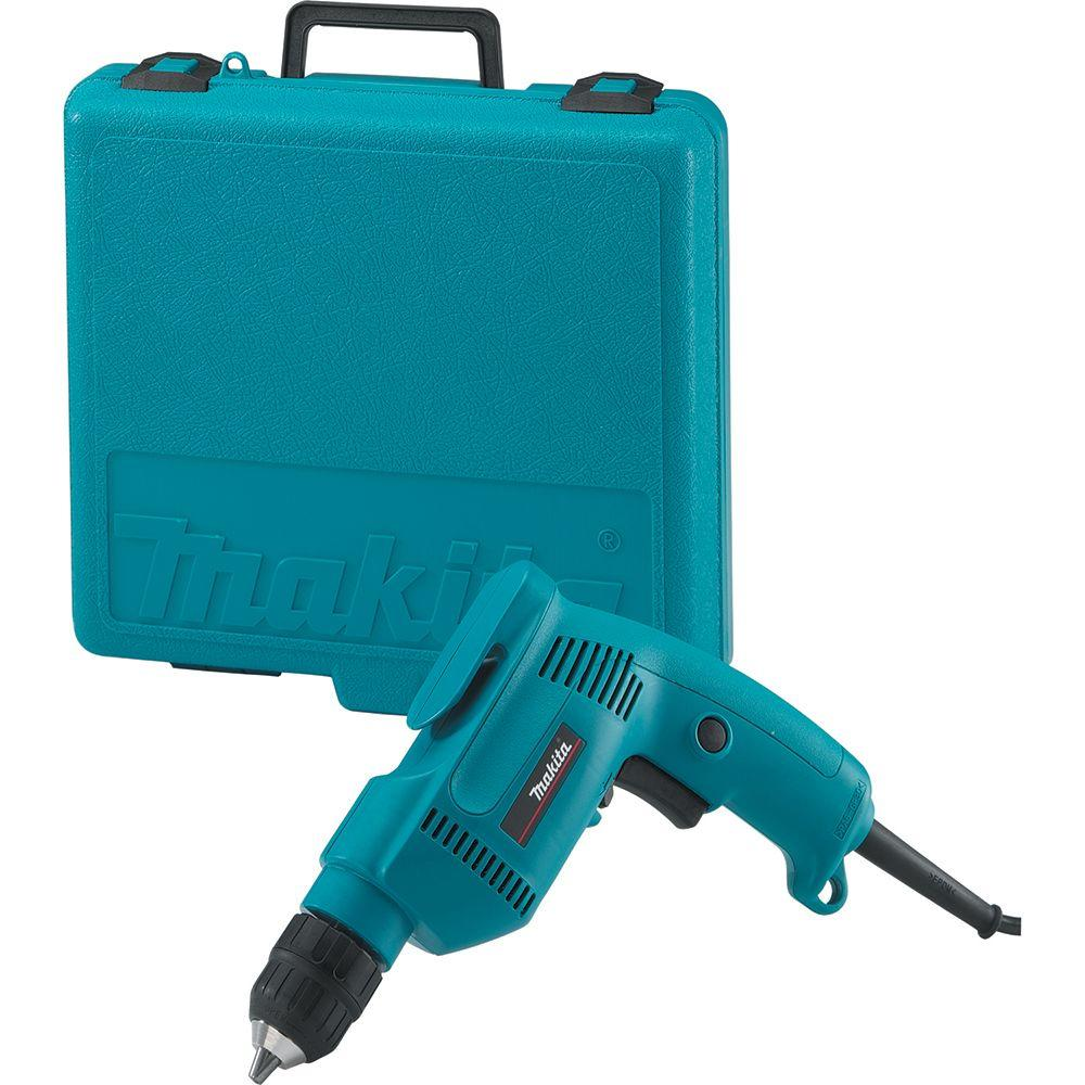 Makita 4.9 Amp 3/8 in. Corded Low Noise (79dB) Variable Speed Drill with Keyless Chuck and Hard Case