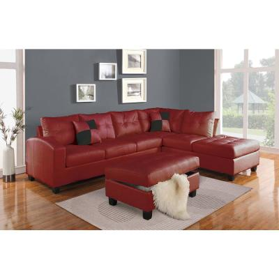 Amelia Red Bonded Leather Match Ottoman With Storage