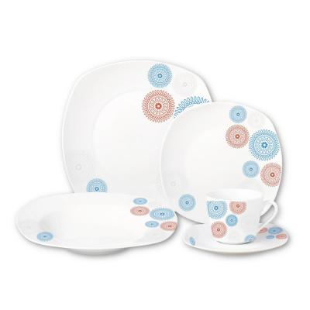 Porcelain 20-Piece Square Dinnerware Set Service for 4-Blue/Red