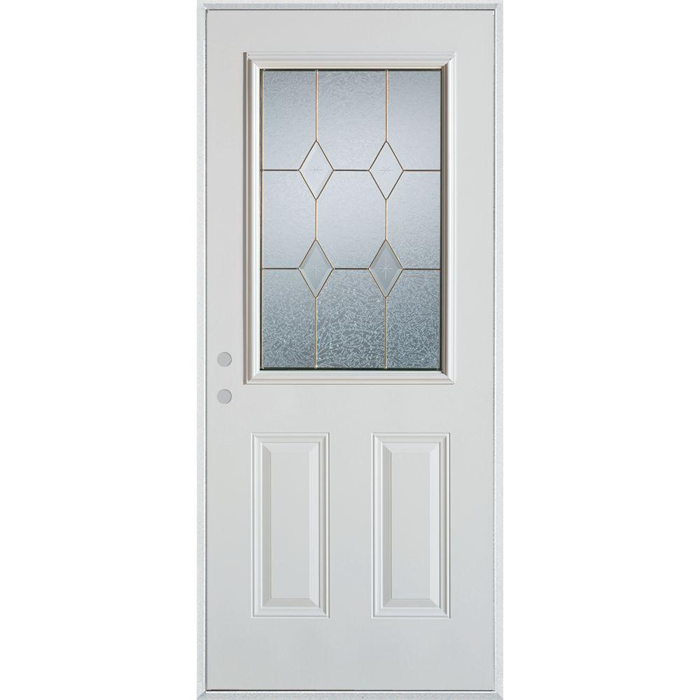 32 in. x 80 in. Geometric Zinc 1/2 Lite 2-Panel Painted