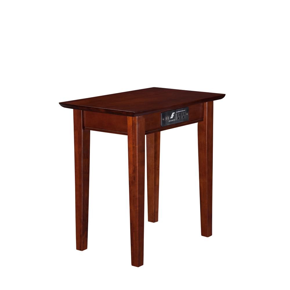 Atlantic Furniture Shaker Walnut Chair Side Table With Charging Station