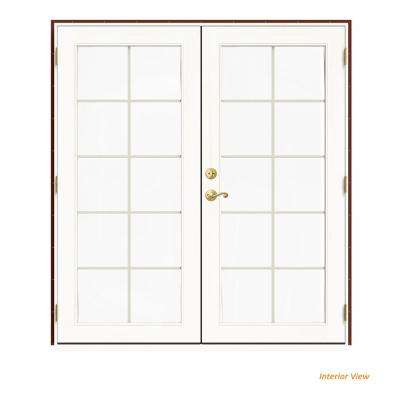 72 in. x 80 in. W-2500 Red Clad Wood Left-Hand 10 Lite French Patio Door w/White Paint Interior