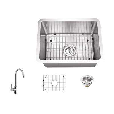 Undermount Stainless Steel 15 in. 16-Gauge Bar Sink in Brushed Stainless with Gooseneck Kitchen Faucet