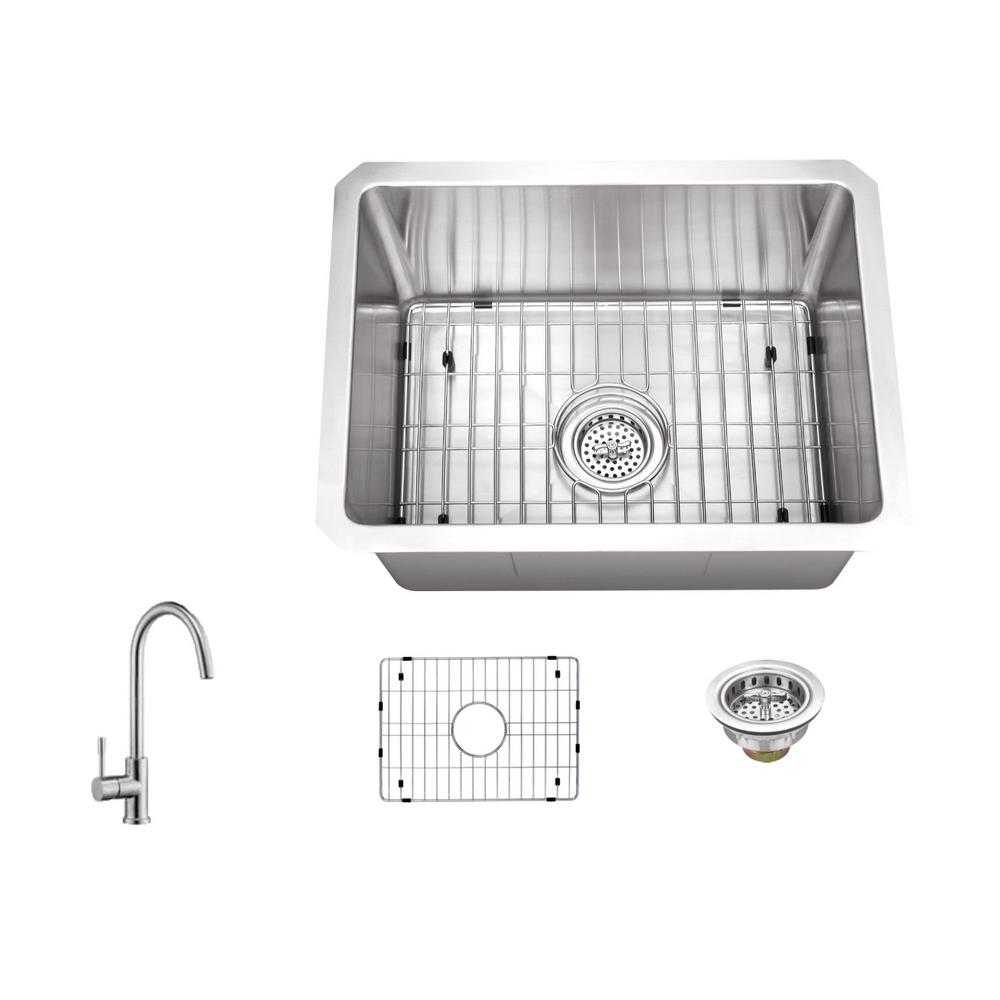 ipt sink company undermount stainless steel 15 in  16 gauge bar sink in brushed stainless with gooseneck kitchen faucet iptra1520p805   the home depot ipt sink company undermount stainless steel 15 in  16 gauge bar      rh   homedepot com