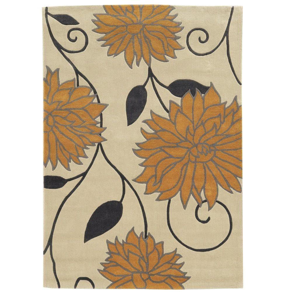 Trio Collection Ivory and Marigold 8 ft. x 10 ft. Indoor