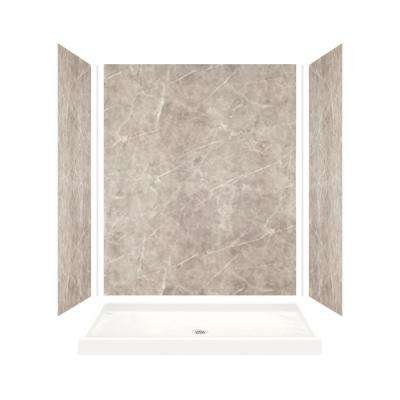Expressions 32 in. x 60 in. x 72 in. Shower Kit with Center Drain in Dover Stone