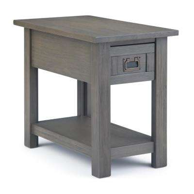 Monroe Solid Acacia Wood 14 in. Wide Rustic Contemporary Narrow Side Table in Farmhouse Grey