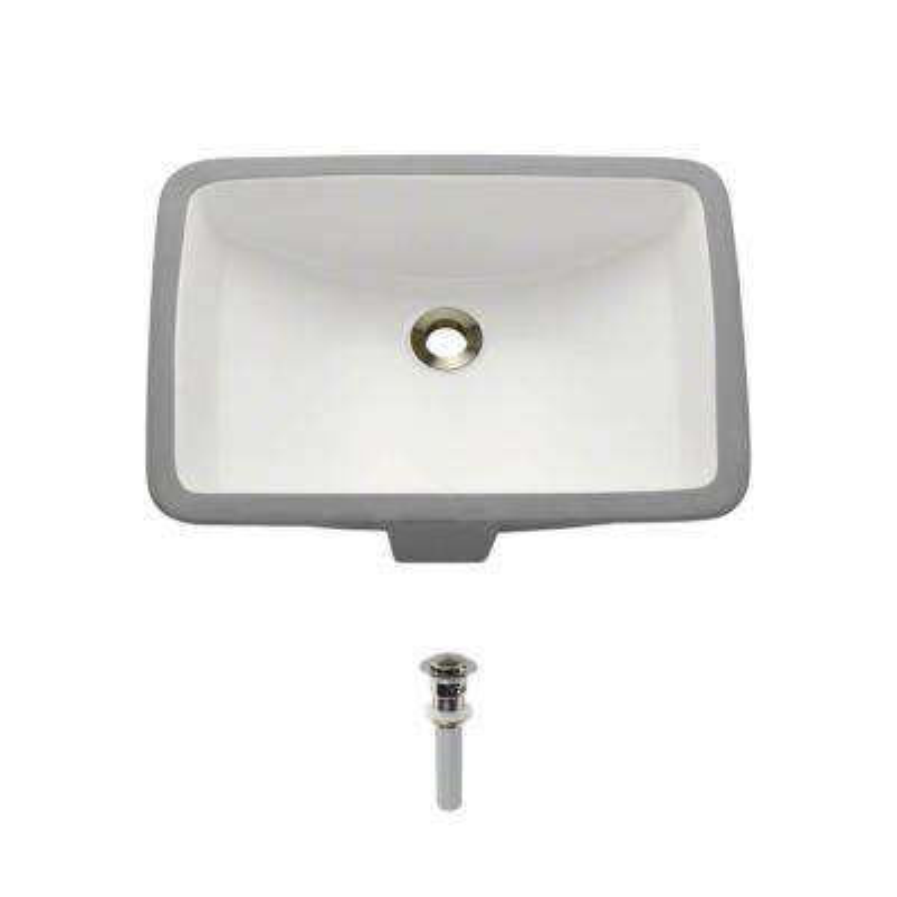 Undermount Porcelain Bathroom Sink in Biscuit with Pop-Up Drain in Brushed Nickel