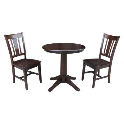 30 in. Solid Wood 3-Piece Mocha Dining Set
