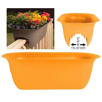 24 x 8.75 Tequila Sunrise Modica Plastic Deck Rail Planter