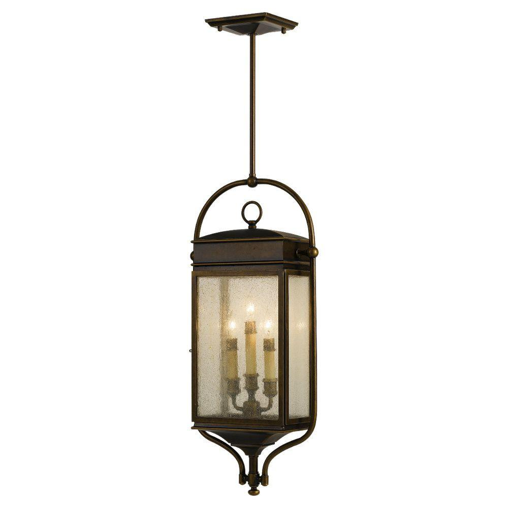 Feiss whitaker 3 light astral bronze outdoor hanging for Hanging outdoor light fixtures