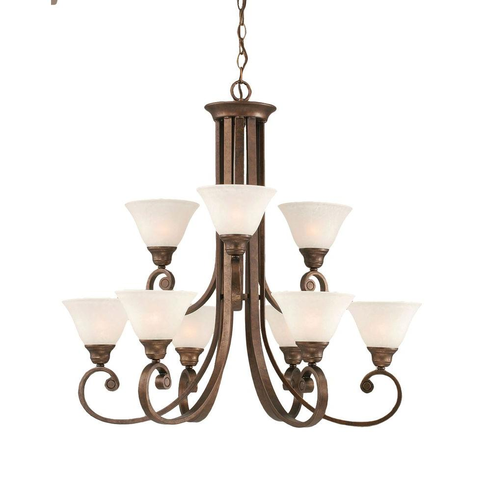 Concord 9-Light Bronze Chandelier with White Marble Glass