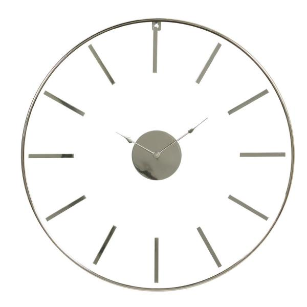 Litton Lane Large 30 In X 30 In Round Silver Stainless Steel Modern Wall Clock 81183 The Home Depot