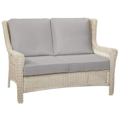 Park Meadows Off-White Wicker Outdoor Patio Loveseat with CushionGuard Stone Gray Cushions
