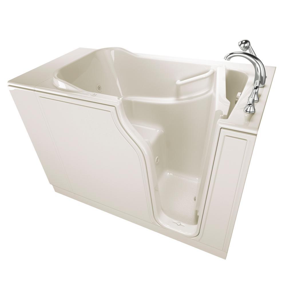 Gelcoat Entry 52 in. Walk-In Whirlpool Bathtub in Biscuit